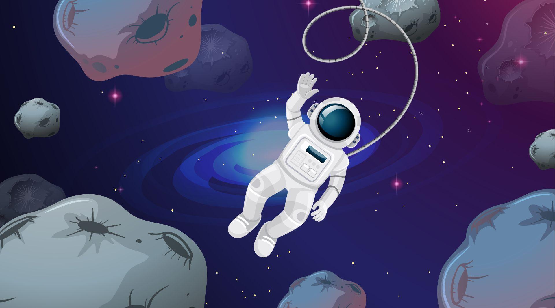 Astronaut in asteroid scene illustration